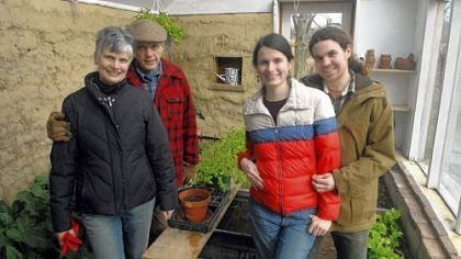 Cob greenhouse Maureen Kinevey-Gump, left, and her husband, Jeff Gump, their daughter Elizabeth Kinevey-Gump and her boyfriend Sam Clary built their greenhouse out of cob.