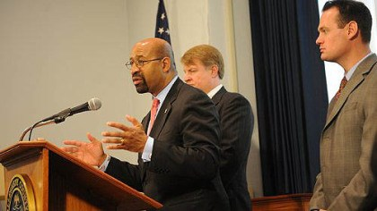 Commonwealth Philadelphia Mayor Michael Nutter, center, attends a press conference with County Executive Rich Fitzgerald and Pittsburgh Mayor Luke Ravenstahl to address critical issues in the Commonwealth.