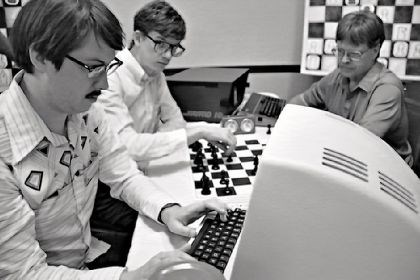 "'Computer Chess' Wiley Wiggins and Patrick Riester in ""Computer Chess."""