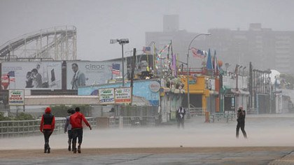 Coney Island Driving wind and rain lash the Coney Island boardwalk in New York as Irene came closer to the area this morning. Irene hit the beachside landmark with 65-mph winds