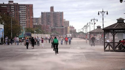 Coney Island Sand blows across the boardwalk at Coney Island as the tail end of Hurricane Irene hits New York City.