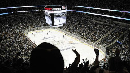 Consol Energy Center Fans cheer in the third period of Thursday's game at Consol Energy Center.