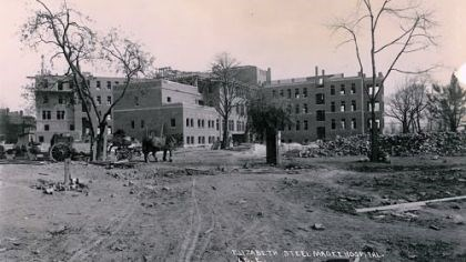 Construction at the current site of Magee-Womens Hospital in 1914 Construction at the current site of Magee-Womens Hospital in 1914 included help from a horse and buggy.