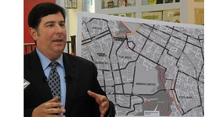Councilman Bill Peduto Councilman Bill Peduto talks about the alternate routes involving Reynolds Street in Point Breeze that runs between Frick Park and Mellon Park and does not have as much traffic as Penn Avenue.