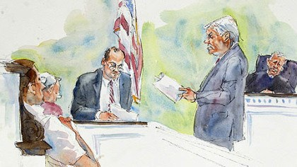 courtroom sketch In this courtroom sketch, Judge John Cleland, right, listens as prosecutors Joseph McGettigan III, second from right, and Frank Fina, third from right, re-create the testimony of former Penn State assistant football coach, Mike McQueary, for the jury, seated at left.