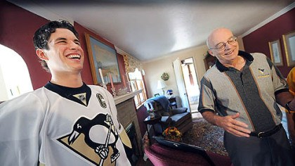 Crosby delivers Sidney Crosby jokes with season ticket holder David Disney after Crosby hand-delivered his tickets earlier this month. Mr. Disney has been a season ticket holder since 1967.