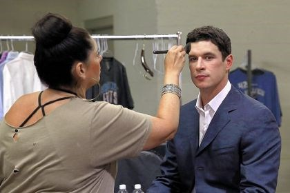 crosbyportrait1 Sidney Crosby is prepared for a portrait session at the NHL players media tour Thursday at the Prudential Center in Newark, N.J.