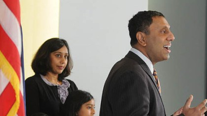 D. Raja and family Mt. Lebanon Commissioner D. Raja was accompanied by his family, from left, Dr. Neeta and daughters Omisa and Isana in announcing his candidacy for Allegheny County executive.