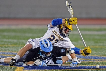Daily0430p.jpg Mt. Lebanon's Jack McMahon and Seneca Valley's Cole Fyock fight for the ball Monday night.