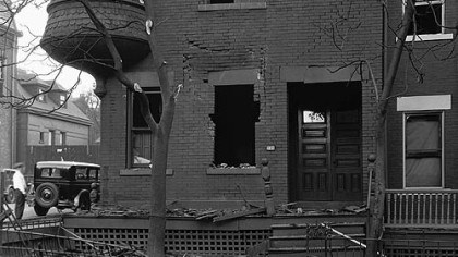 Damaged house This house on Fulton Street was among those damaged in a fatal North Side gas tank explosion in 1927.