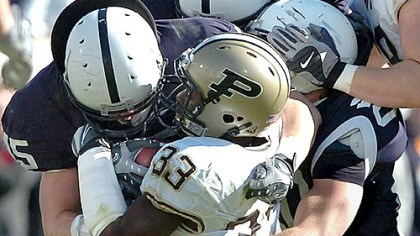 Dan Connor Dan Connor & company gang up on Purdue's Jaycen Taylor on Saturday.