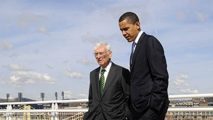 Dan Rooney and Barack Obama Senator Barack Obama walks with Steelers owner Dan Rooney to a rooftop deck on the David L. Lawrence Convention Center, Downtown, to get a view of Heinz Field in April of this year.