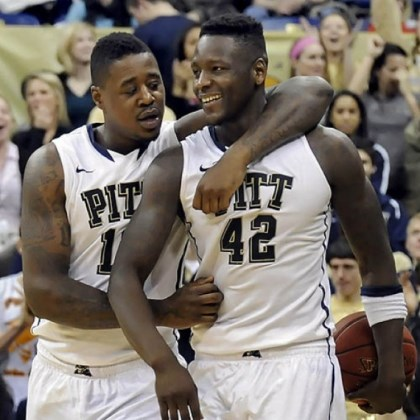 DanteTalib Pitt's Dante Taylor and Talib Zanna celebrate near the end of overtime against Villanova Sunday at the Petersen Events Center.