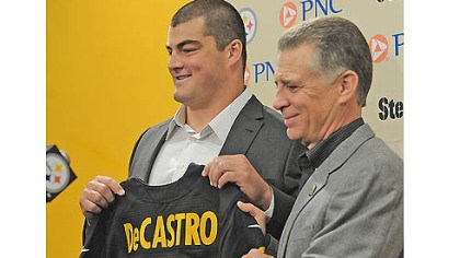 David DeCastro and Art Rooney II Steelers No. 1 draft pick Stanford guard David DeCastro is introduced by team President Art Rooney II Friday at Steelers headquarters on the South Side.