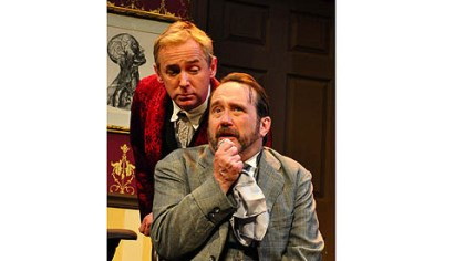 "David Whalen and Martin Giles David Whalen, left, and Martin Giles return to Pittsburgh Irish & Classical Theatre as Sherlock Holmes and Dr. Watson in ""Sherlock Holmes and the Crucifer of Blood."""