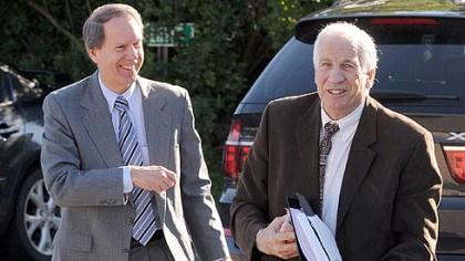 Day 2 Jerry Sandusky, right, and his attorney, Joe Amendola, arrive Wednesday at the Centre County Courthouse for the second day of jury selection.