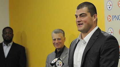 decastro Steelers' No. 1 draft pick David DeCastro speaks to the media at Steelers headquarters.