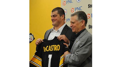 Decastro Steelers top draft pick David DeCastro is introduced by team president Art Rooney II at Steelers headquarters on the South Side