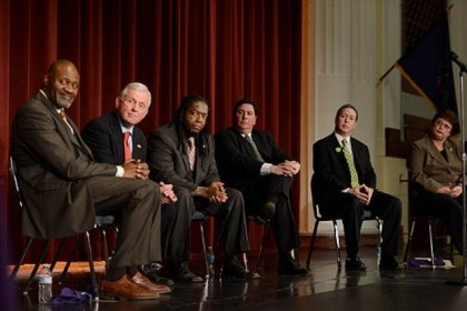 Democratic candidates mayoral debate From left, Democratic mayoral candidates state representative Jake Wheatley, former state Auditor General Jack Wagner, A.J. Richardson, councilman Bill Peduto, city Controller Michael Lamb and city council president Darlene Harris at Obama Academy in East Liberty for a debate.