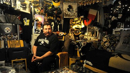 Dennis DeLuca Dennis DeLuca of Carnegie is immersed in Steelers paraphernalia. More photos at post-gazette.com.