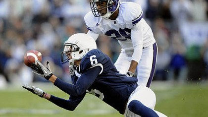 Derek Moye Penn State wide receiver Derek Moye hauls in a catch versus Northwestern last season.