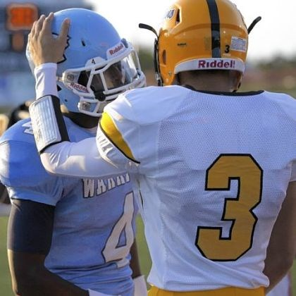 Devin Wilson and Robert Foster Montour receiver Devin Wilson, right, greets Central Valley receiver Robert Foster before the start of their game earlier this season.