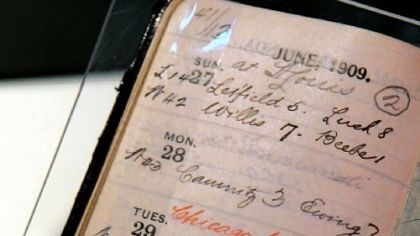 Diary of Barney Dreyfuss The day calendar of Pirates' owner Barney Dreyfuss noting the opening of Forbes Field on June 30, 1909.