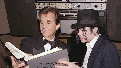 Dick Clark and Michael Jackson In 1993, Michael Jackson and American Music Awards executive producer Dick Clark go over the script during rehearsals for ceremony at the Shrine Auditorium in Los Angeles.