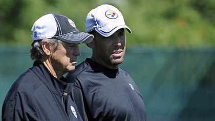 Dick LeBeau and Todd Haley Steelers coordinators Dick LeBeau (defense) and Todd Haley (offense) talk during organized team activities Wednesday at the South Side practice facility.