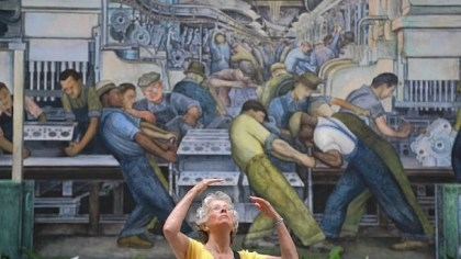 "Diego Rivera mural ""This is one of the treasures of the world,"" says Karen Chadwick of Kalamazoo, above, referring to the Diego Rivera mural she is looking at Thursday inside the Detroit Institute of Arts."