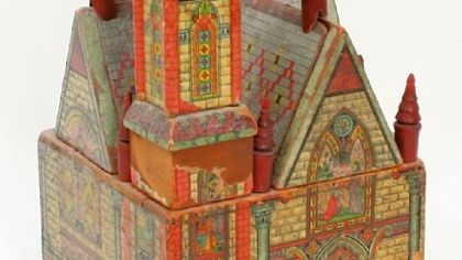 Dollhouse This color church, made by Bliss in 1895, is lithographed paper over wood. It is estimated to sell for $1,000 to $1,500.
