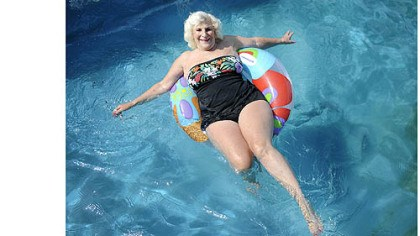 Dolores Grandizio Dolores Grandizio, 83, floats in her pool in Valencia. Ms. Grandizio, who has had surgery on her spine to correct scoliosis, said swimming and dancing are her two favorite ways to exercise.