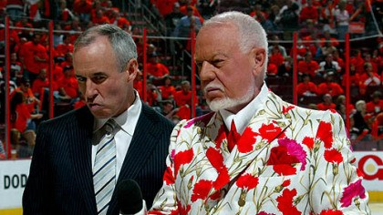 Don Cherry photo Colorful Canadian broadcaster Don Cherry, right, and partner Ron Maclean work the pregame on the ice last night at the Wachovia Center.
