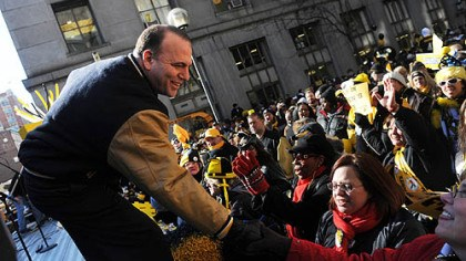 Don Onorato Allegheny County Executive Dan Onorato greets Steelers fans.