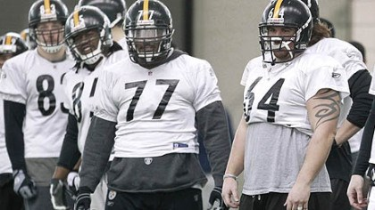 Doug Legursky and Dorian Brooks Steelers center Doug Legursky (64), guard Dorian Brooks (77), and other linemen listen to a coach during practice on Friday in Fort Worth, Texas.