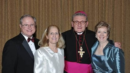 Dr. Charles J. and Sandra Dougherty, Bishop David Zubik and Susan Rauscher Dr. Charles J. and Sandra Dougherty, Bishop David Zubik and Susan Rauscher.