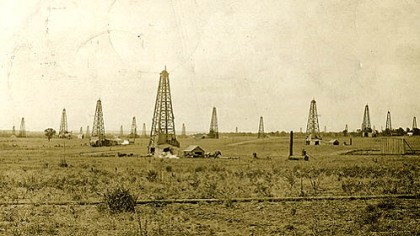 Drumright, Okla. This postcard, postmarked Sept. 4, 1913, shows oil fields in Drumright, Okla. The photo is part of the Devon/Dunning Petroleum Industry Collection.