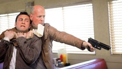 "DVD review: 'Looper' Joseph Gordon-Levitt, left, and Bruce Willis play the same character, Joe, in ""Looper."""