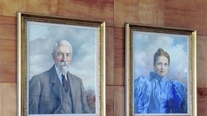 Eden Portraits of Sebastian Mueller and wife, Elizabeth Heinz are hung on a wall at Eden Hall.