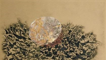 "'Egg and Nest, I' ""Egg and Nest I,"" a collagraph and collage with copper leaf, by Kate Cheney Chappell."