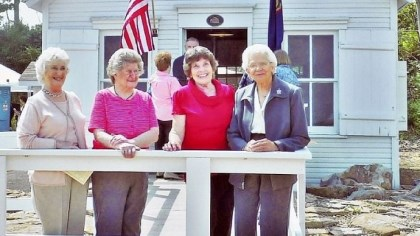 Election workers Election workers (from left to right) Mary Margaret Downing, Dorothy Rosborough, June Vicola and Annabelle Askew stand outside the newly reopened Simpson Voting House on Route 22 in Derry Township.