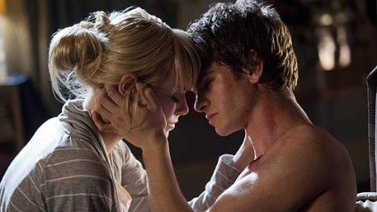 "Emma Stone and Andrew Garfield Emma Stone as Gwen Stacy joins Andrew Garfield as Peter Parker/Spider-Man in ""The Amazing Spider-Man,"" which arrives at many theaters at 12:01 a.m. Tuesday."