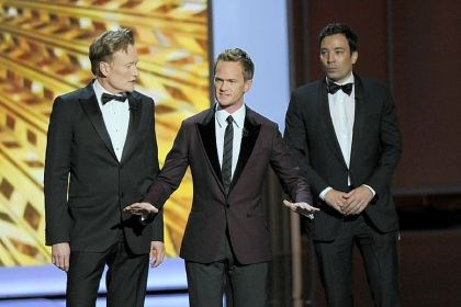 Emmy hosts 2013 host Neil Patrick Harris, left, is joined by former Emmy hosts Conan O'Brien, left, and Jimmy Fallon in the opening sketch of the 65th Primetime Emmy Awards at Nokia Theatre Sunday in Los Angeles.