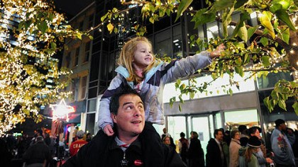 Enjoying the view Gabriella Borella enjoys the view from her father Rich's shoulders at PPG Plaza during Light Up Night in 2009.