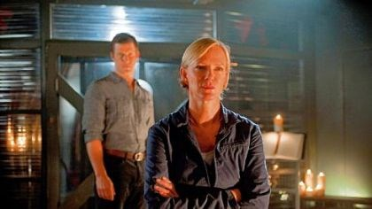 "Eric Mabius and Hermione Norris Eric Mabius and Hermione Norris are at odds on an Earth colony on the BBC America series ""Outcasts."""