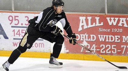 Eric Tangradi Penguins' forward Eric Tangradi works out during the team's development camp at Southpointe Tuesday.