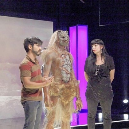 "Eric Zapata and Autumn Cook ""Pittsburgh's Autumn Cook and Savini School grad Eric Zapata landed in the bottom two of Syfy's 'Face Off' when their outerspace werewolf failed to impress."""