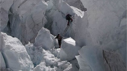 Everest Diary, May 1 entry Michael Kobold, of Kobold Watch Company, climbs through the ice fall from Base Camp to Camp 1 as he begins his attempt to reach the summit of Mount Everest.