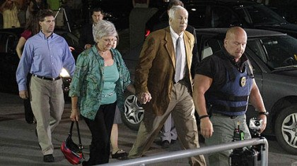 Facing the verdict Former Penn State University assistant football coach Jerry Sandusky, right center, arrives with his wife Dottie, left center, at the Centre County Courthouse tonight to learn of the jury's decision.