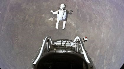 Felix Baumgartner jumps Pilot Felix Baumgartner of Austria jumps out of the Red Bull Stratos capsule during his record-breaking dive.